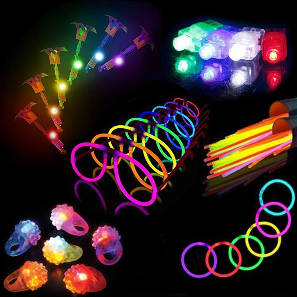Glow Sticks Party Pack, 90 PC Glow Bracelets and LED Light Toy Assortment, Glow in the Dark Party Favors for Goody Bags, Kid's Prizes, Pinata Toys and Fillers. Includes E-Book and 8 Bonus LED Rings
