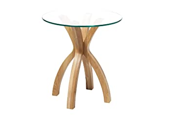 New Phoenix Solid Oak Glass Lamp Side End Table Modern Clear Living