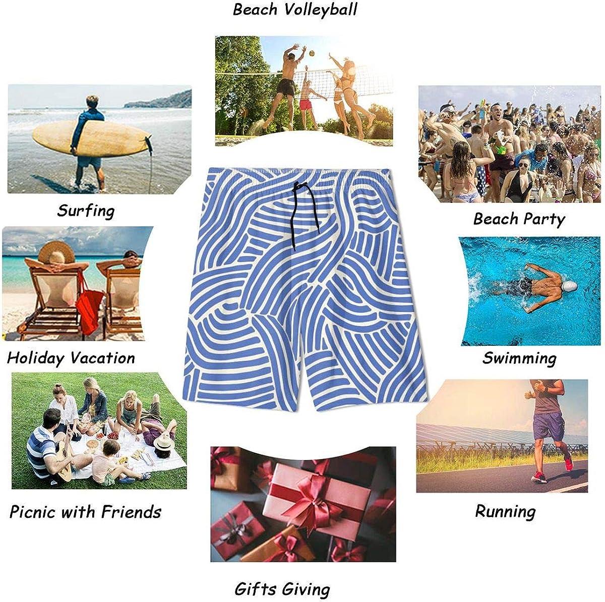 Hkany Blue Teenager Boys Beachwear Beach Shorts Pants Board Shorts