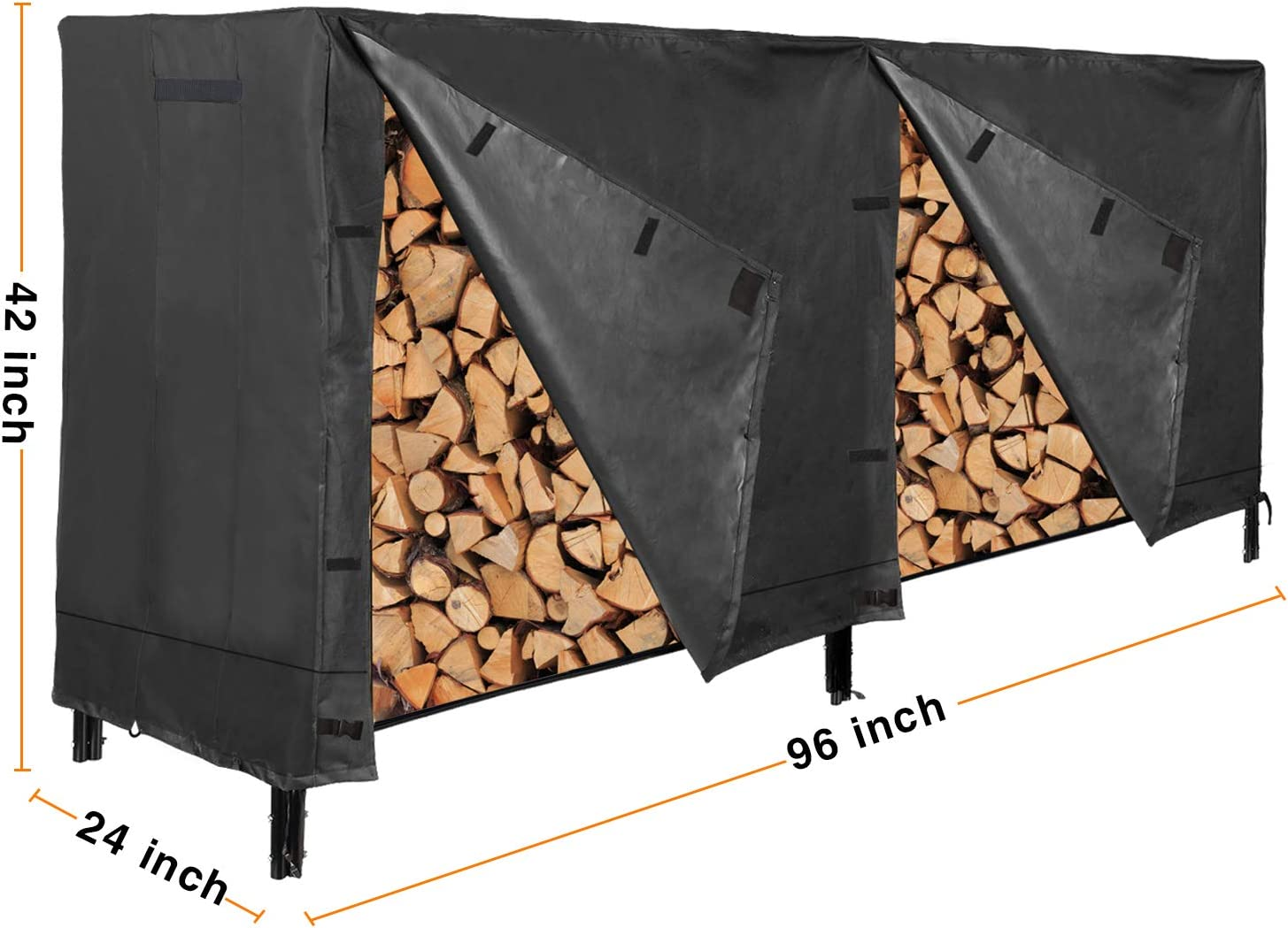 Black CAMPMOON 8FT Firewood Covers Waterproof Durable Oxford Heavy Duty Outdoor Log Rack Cover
