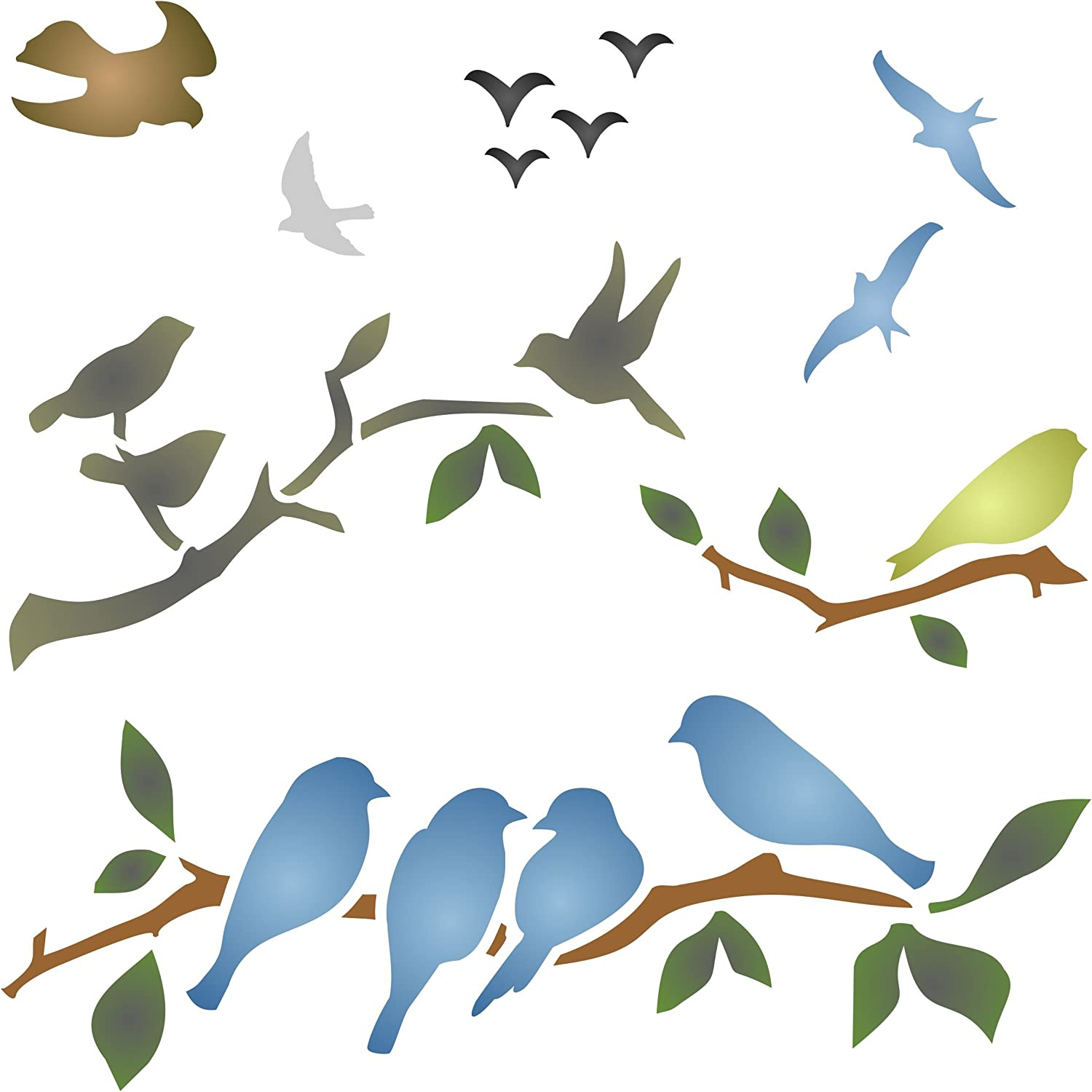 Birds on Branches Stencil, 4.5 x 4.5 inch (S) - Bird Branch Silhouette Stencils for Painting Template