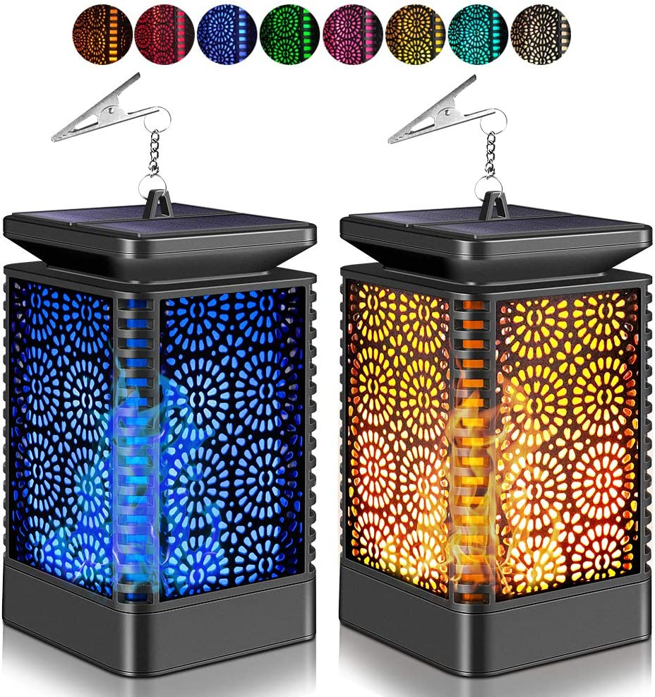 Upgraded Solar Lantern Lights, CrazyFire Outdoor Hanging Lantern with 8 Lights Modes, Waterproof Solar Powered Dancing Flame LED Night Lights for Patio Garden Yard Path Camping (2 Pack)