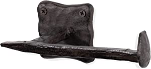 Rustic State Motris Railroad Spike Cast Iron Toilet Paper Holder 6.5 Inch Black