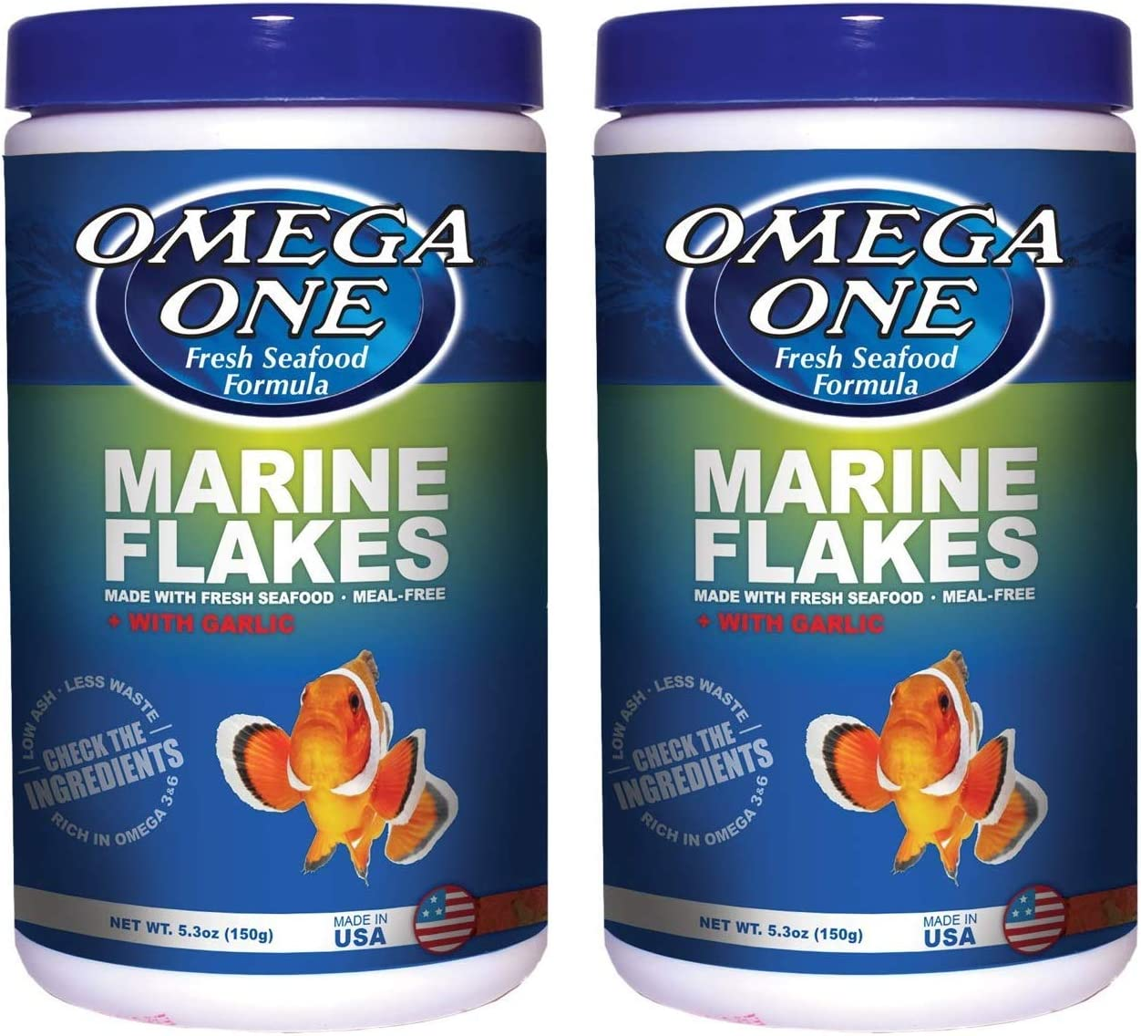 Omega One 2 Pack of Garlic Marine Flakes, 5.3 Ounces Each, Food for Saltwater Fish