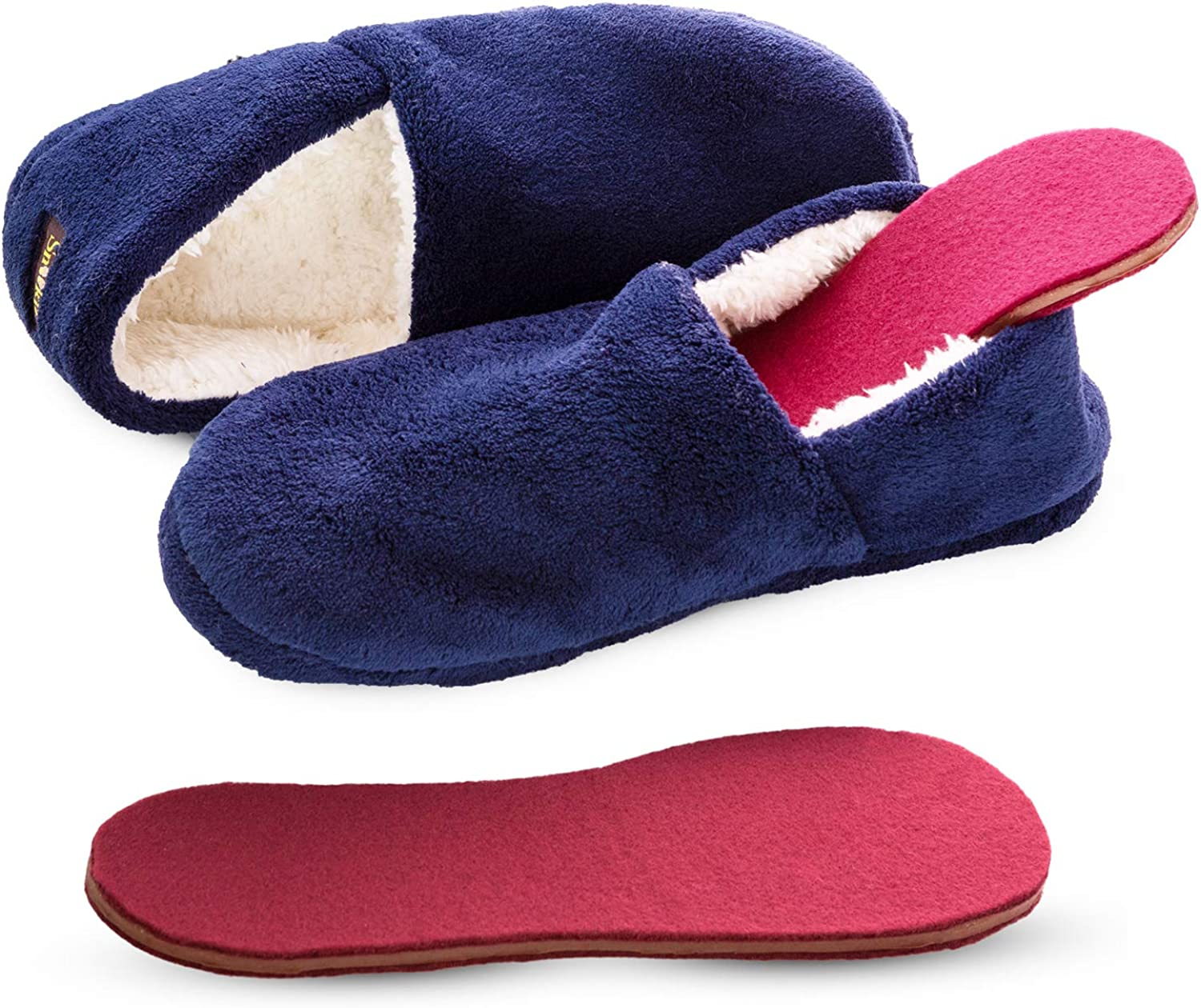 Snook-Ease Microwavable Heated Slippers Feet Warmers Booties with Heated Insole Inserts for Instantly Warm Feet - Reusable Reheatable Washable - Promotes Good Night's Sleep – Low Cut