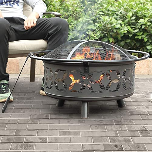 PHI VILLA 29 Fire Pit Large Steel Patio Fireplace Cutouts Pattern, Poker Spark Screen Included