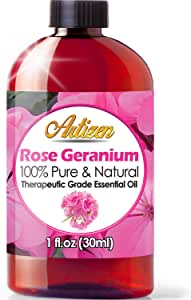 Artizen Rose Geranium Essential Oil (100% Pure & Natural - UNDILUTED) Therapeutic Grade - Huge 1oz Bottle - Perfect for Aromatherapy, Relaxation, Skin Therapy & More!