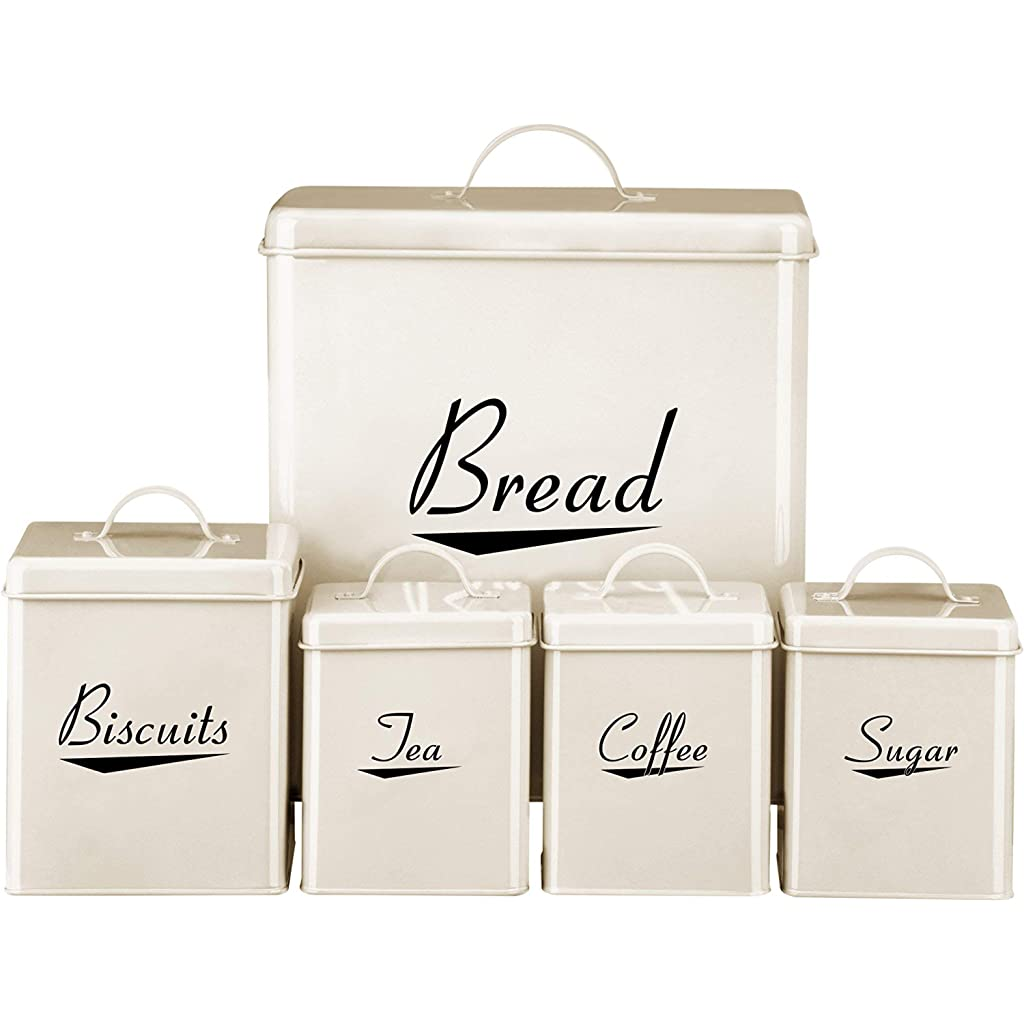 Cream Enamel Kitchen Storage Set