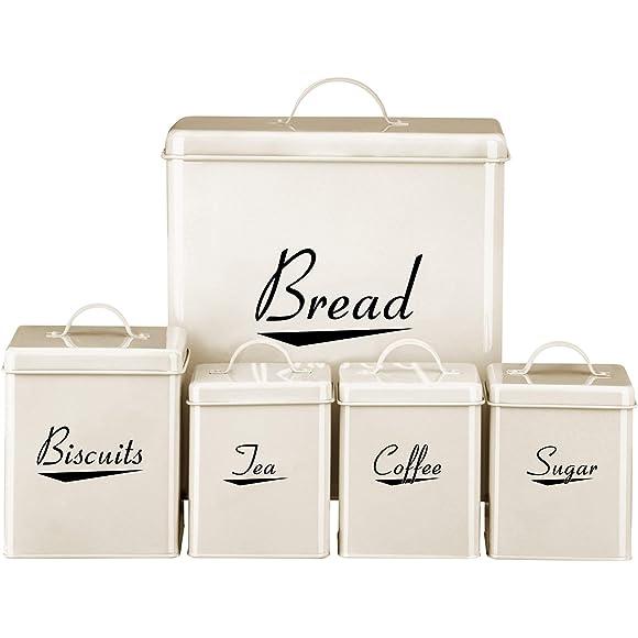 Cream Enamel Kitchen Storage Set