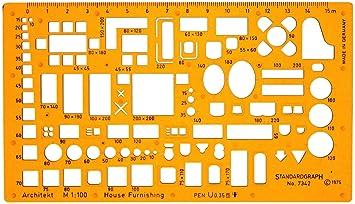 1 100 Mimar şablon şablon Mobilya Iç Mimar Teknik çizim Amazon