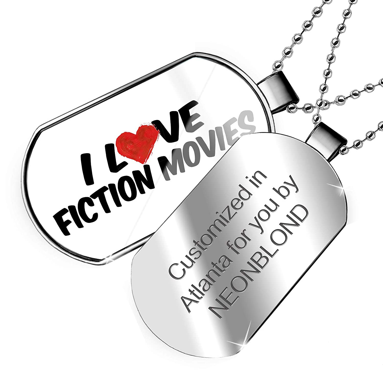 NEONBLOND Personalized Name Engraved I Love Fiction Movies Dogtag Necklace