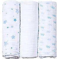 Cueiro Soft Estampado, Papi Textil, Azul, 80cmx80cm, Pacote de 3