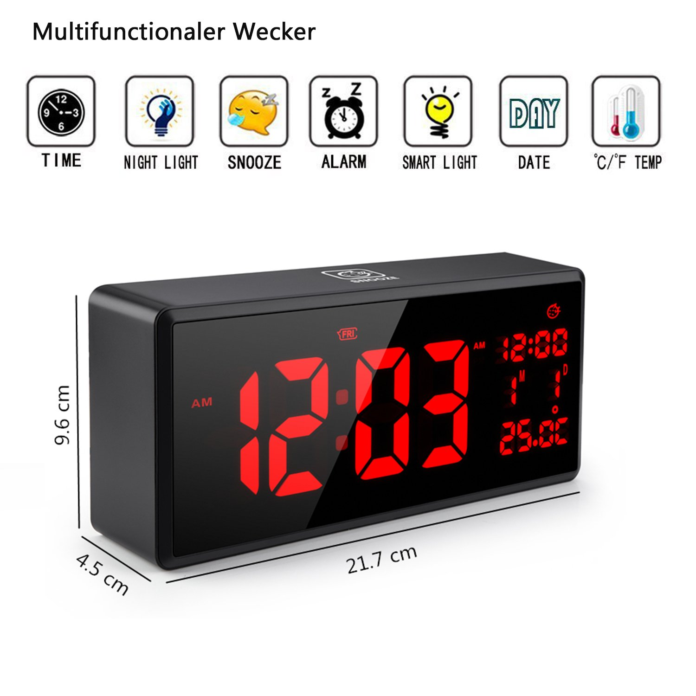 Reloj de Alarma Digital, Foneso Pantalla LED Grande Reloj de Alarma con Cable USB, Luminiscencia Inteligente y Función de Dormitar y Fecha Pantalla y ...