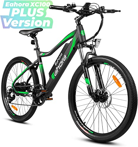 Eahora XC100 Plus 26 Inch 48V 10.4Ah Mountain Electric Bicycle Removable Lithium Battery 350W Urban Commuter Electric Bike for Adults E PAS Power Regeneration 80 Miles 7 Speed