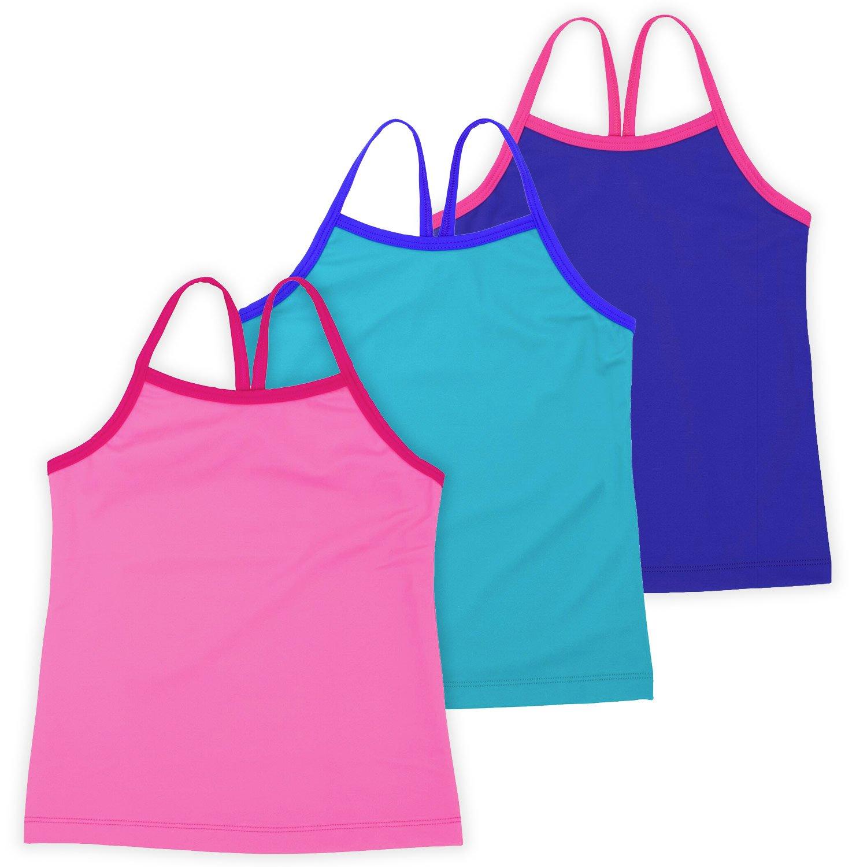Ella Girls Dance Tank Top, Gymnastics & Dancewear, 3-Pack, Rosey Posey 7/8