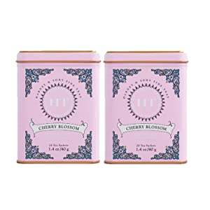 Harney & Son's Cherry Blossom Green Tea Tin 20 Sachets (1.4 oz ea, Two Pack) - Green Tea Blend with Notes of Cherries - 2 Pack 20ct Sachet Tins (40 Sachets)