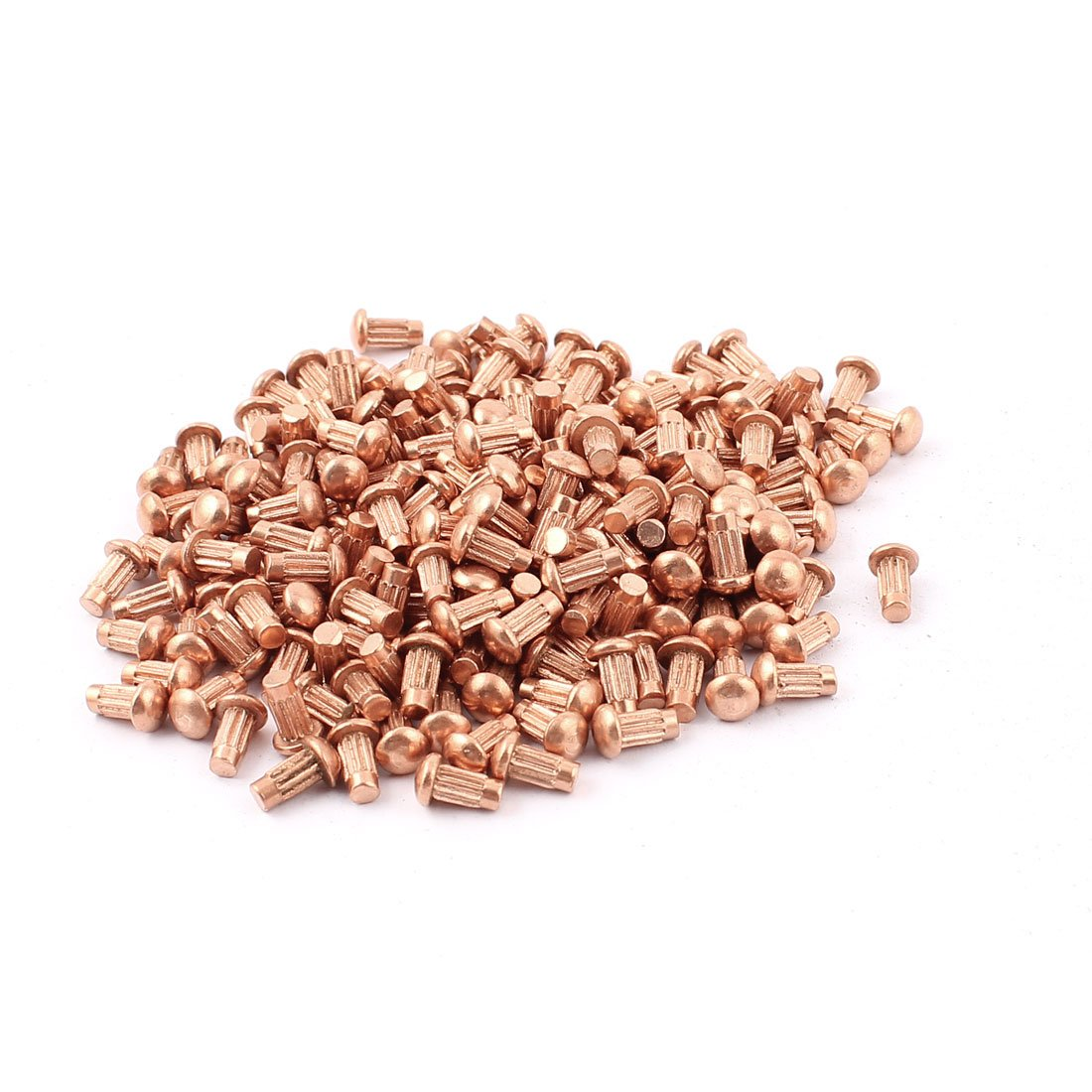 200 Pcs 1/8'' x 1/4'' Copper Round Head Solid Rivets Knurled Shanks