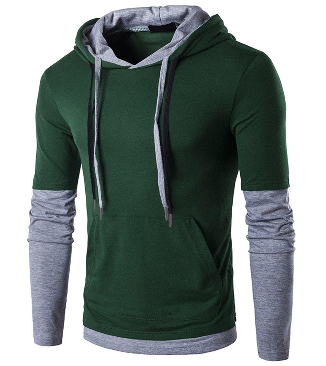 SIR7 Men's Stylish Hooded T Shirt Casual Long Sleeve Hipster Hip Hop Hoodie Shirts Dark Green XL