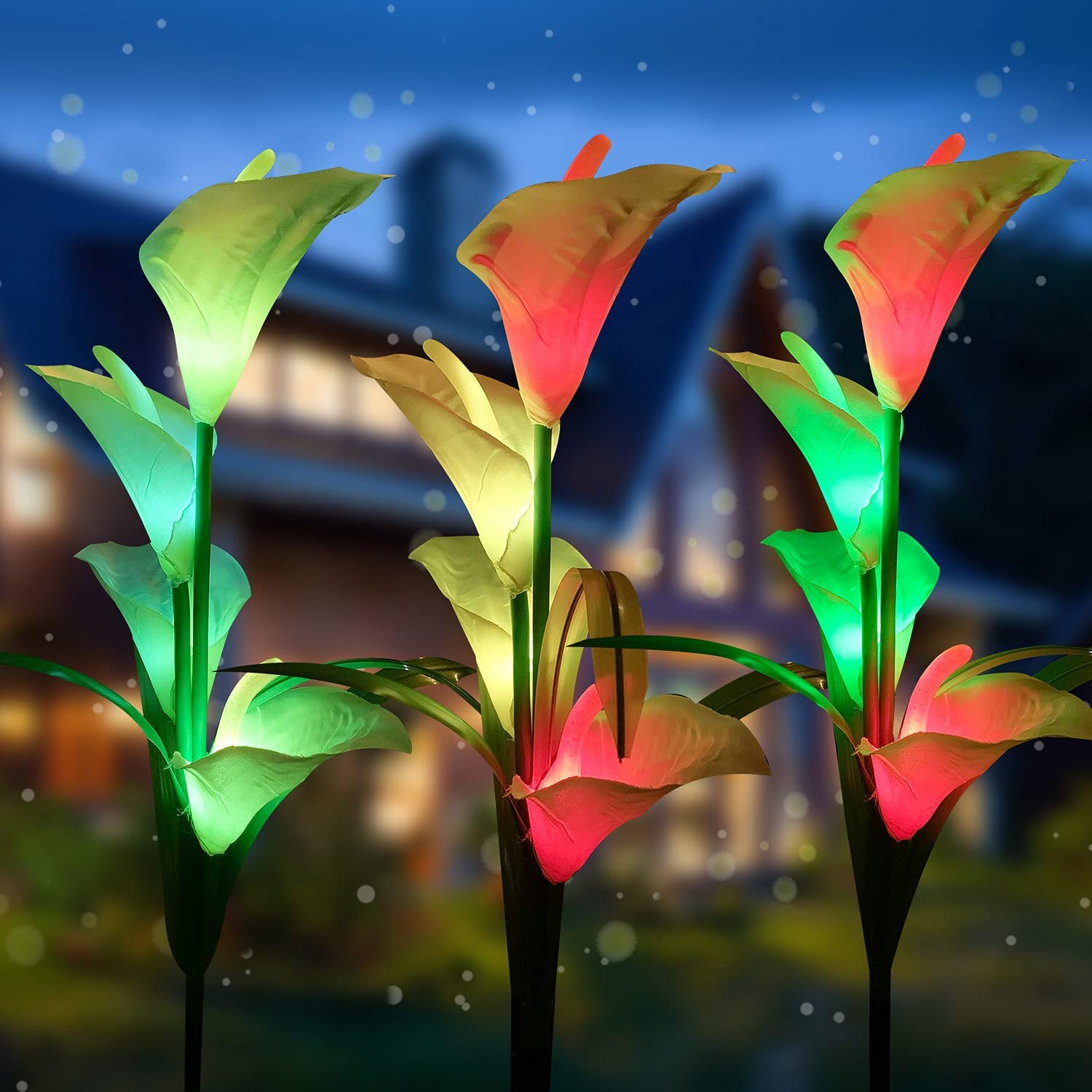 MIAGI Upgrade Solar Lights Outdoor Garden Stake Light with 12 Calla Lily Flowers,Premium Multi Color Changing LED Lily Solar Powered Waterproof Lights for Patio, Lawn, Garden, Yard Decoration.(3 Pack)