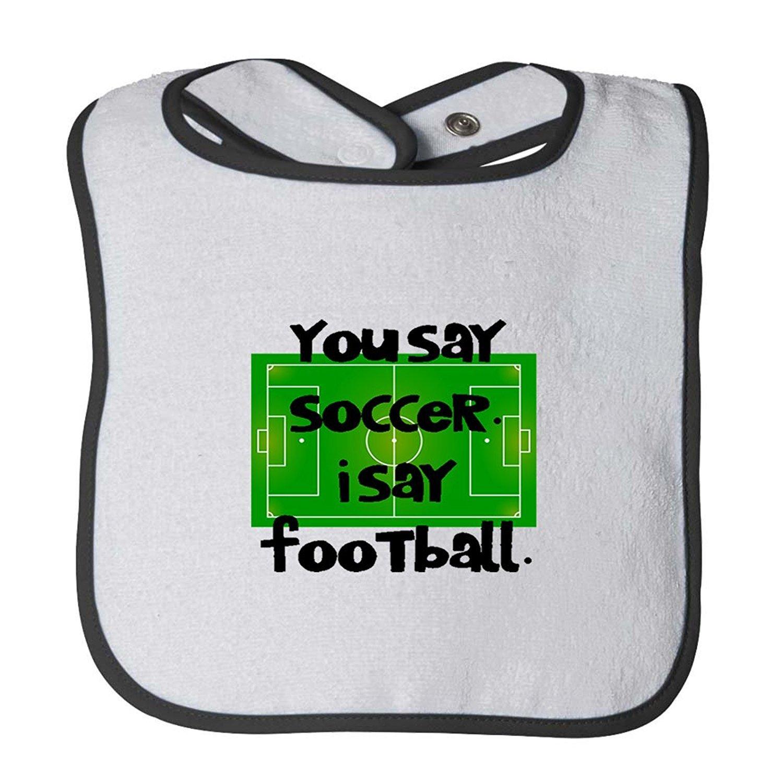 fbe249498 Amazon.com  Soccer Field You Say Soccer Say Football Infant Contrast Trim  Terry Bib Faneilme  Clothing