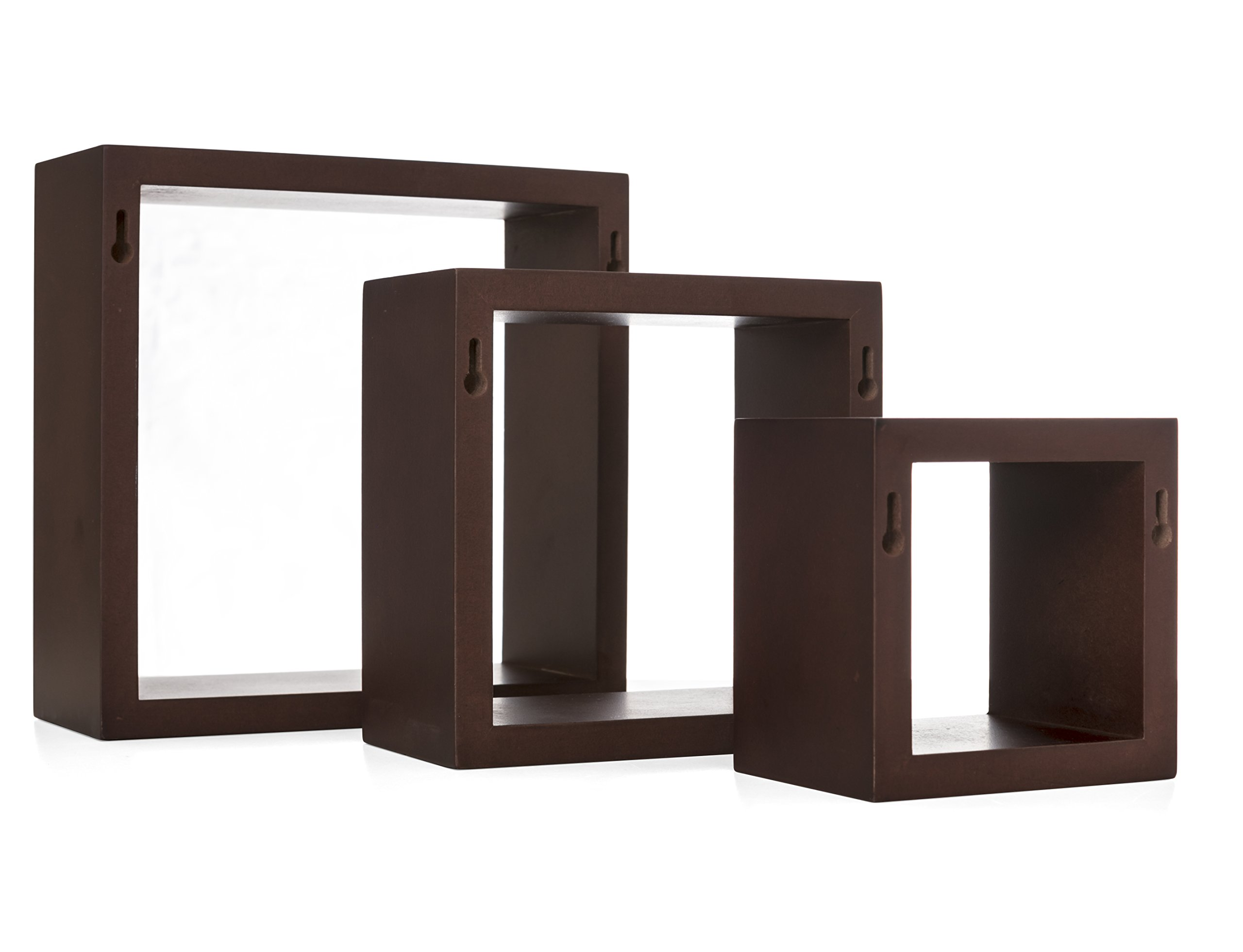 Kiera Grace Cubbi Contemporary Floating Wall Shelves, 5 by 5-Inch, 7 by 7-Inch, 9 by 9-Inch, Espresso, Set of 3 - 3-piece wall-mounted shelf set offers a clean, contemporary display style MDF construction in three sizes: small, medium, and large All cubes are 4 inches deep - wall-shelves, living-room-furniture, living-room - 71ErSW ONZL -
