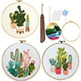 Embroidery Starter Kits for Adults Beginners with Stamped Pattern, Embroidery Floss + Stamped fabric + Needles + Bamboo Hoop,