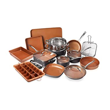 Gotham Steel 20 Piece All in One  Kitchen Cookware + Bakeware Set with Non-Stick Ti-Cerama Copper Coating – Includes Skillets, Stock Pots, Deep Square Pan with Fry Basket, Cookie Sheet and Baking Pans