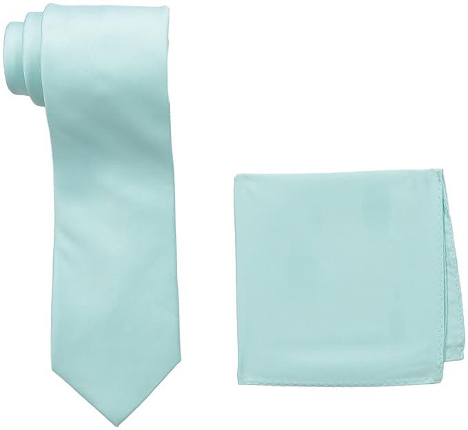 Stacy Adams Men's Satin Solid Tie Set, Mint, One Size best pocket squares