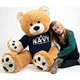 United States Navy Big Plush Giant Teddy Bear Five Feet Tall Honey Brown Color Wears Tshirt that says SOMEONE IN THE NAVY LOVES YOU