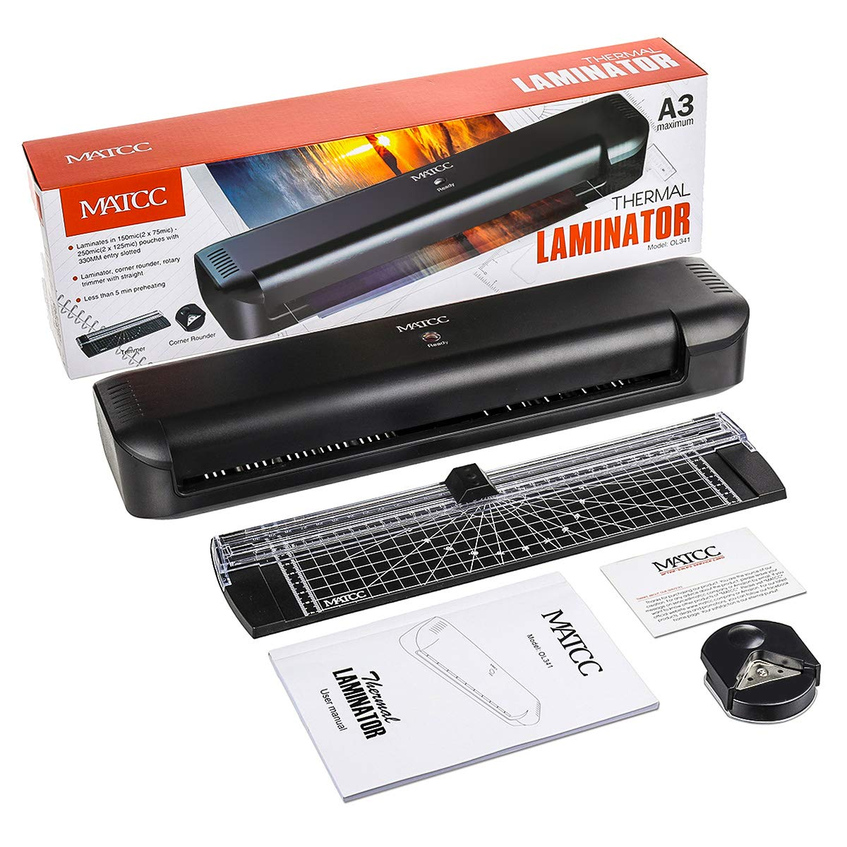 MATCC 13'' Thermal Laminator Machine for A3/A4/A6 Laminating Machine with Paper Cutter and Corner Rounder 2 Roller System Laminator Machine Faster Warm-up Quick Laminating Speed Suit for Home Art by MATCC (Image #7)
