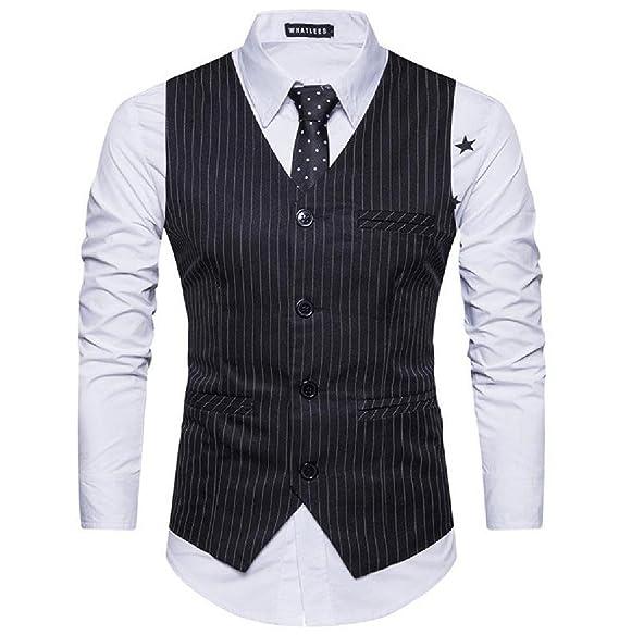 Amazon.com: abetteric para hombre caballero de rayas button ...