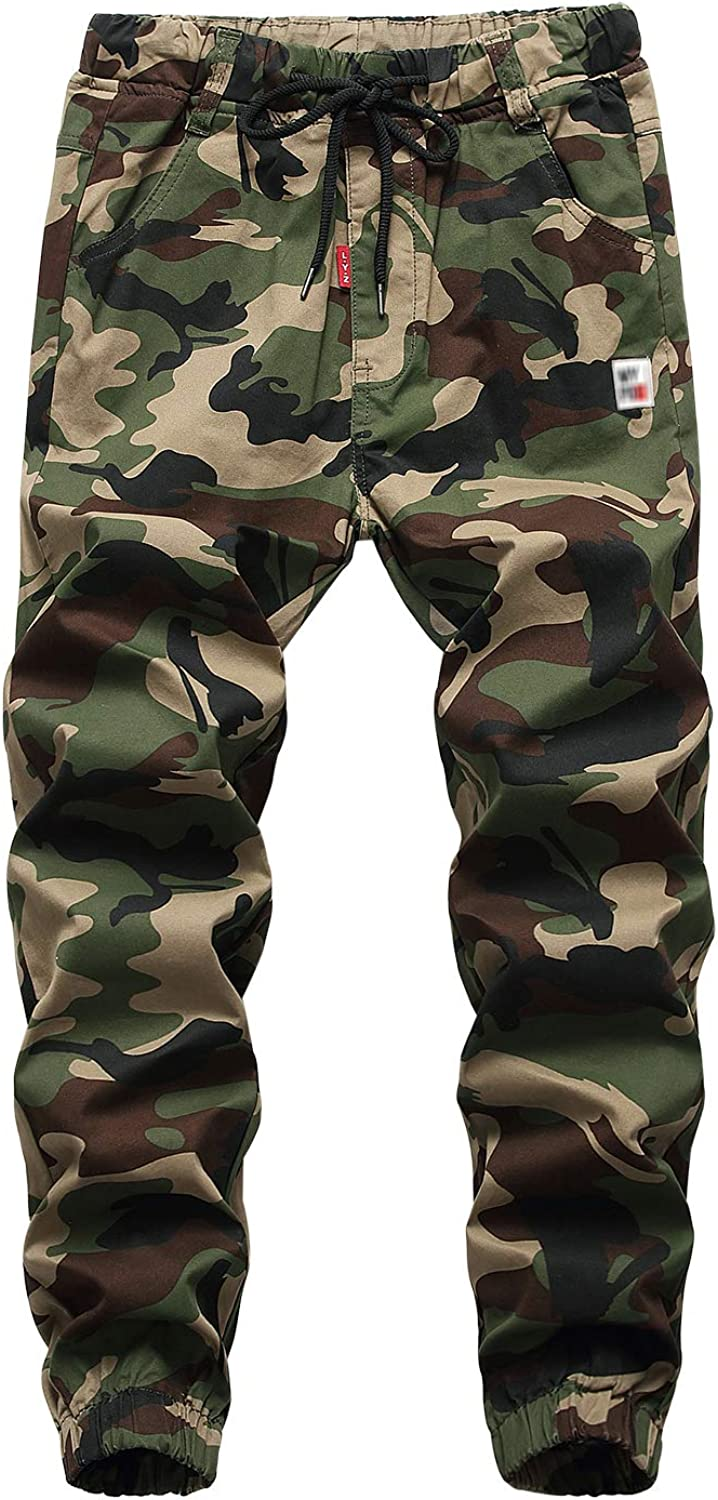 YoungSoul Boys Cargo Jogger Trousers Drawstring Skinny Camo Print Cuff Jogging Bottoms