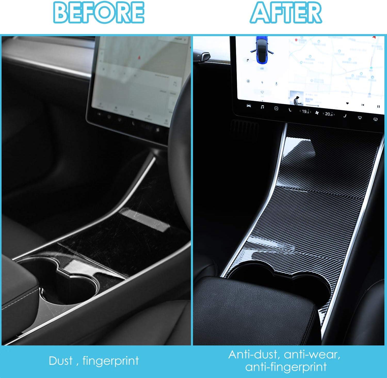 BASENOR Tesla Model 3 Model Y Center Console Wrap Cover Kit ABS Plastic Carbon Fiber Fit for All Model 3 Y