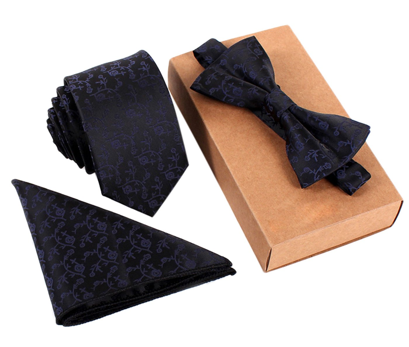 Men's Classic Restro Embroidery Necktie Bowtie Pocket Square 3pcs Set Burgundy Panegy