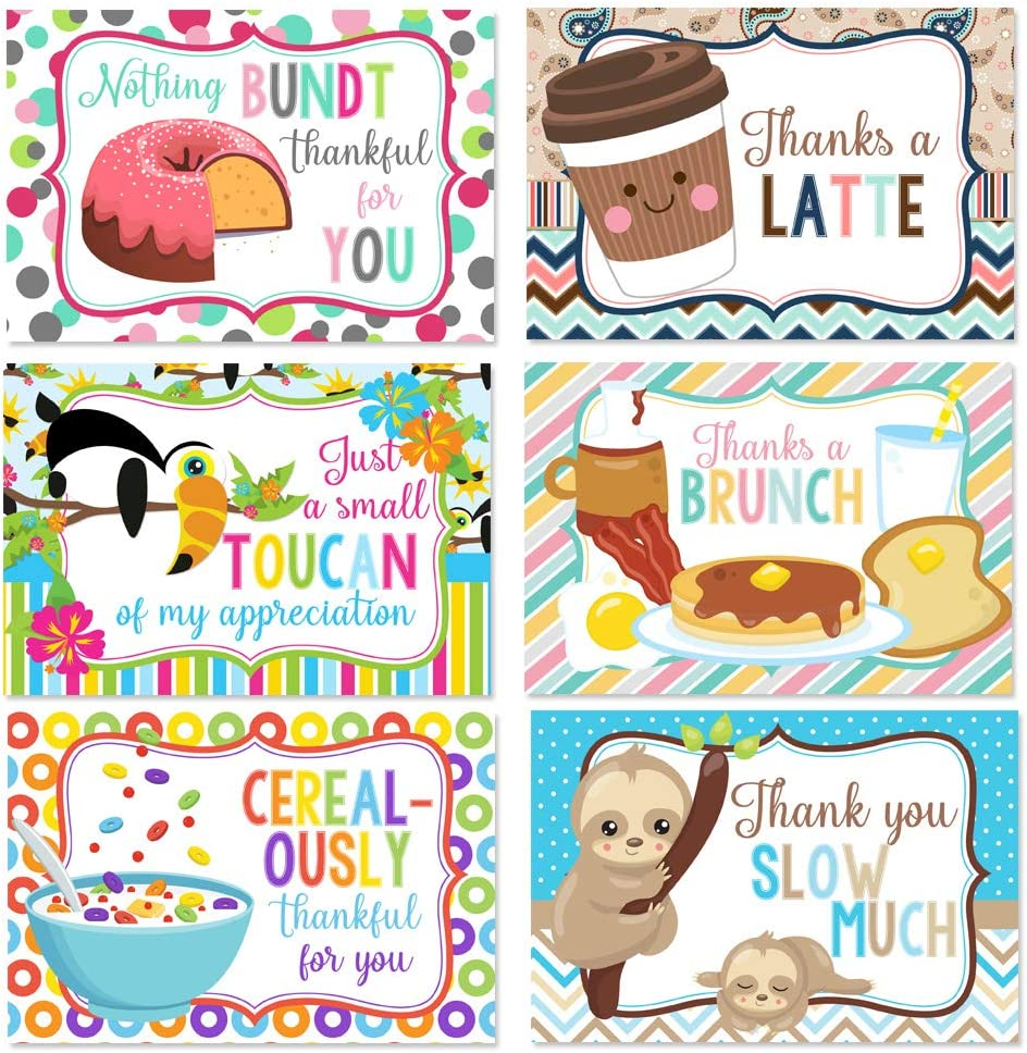 Cute Animal & Food Related Puns All Occasion Blank Thank You Cards To Send To Friends & Family, 4