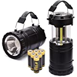 PACEARTH COB LED Camping Lantern Handheld Flashlight 2 in 1 Magnetic Base Removable Handle Spotlight Brighter 3 AA Batteries Emergencies Hurricane Power Outage 2-Pack