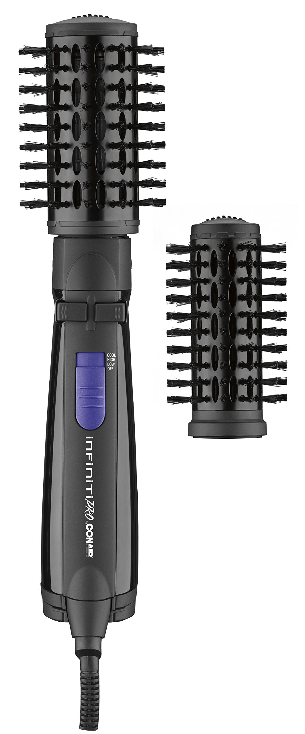 INFINITIPRO BY CONAIR Spin Air Rotating Styler/Hot Air Brush; 2-inch AND 1 1/2-inch; Black by Conair