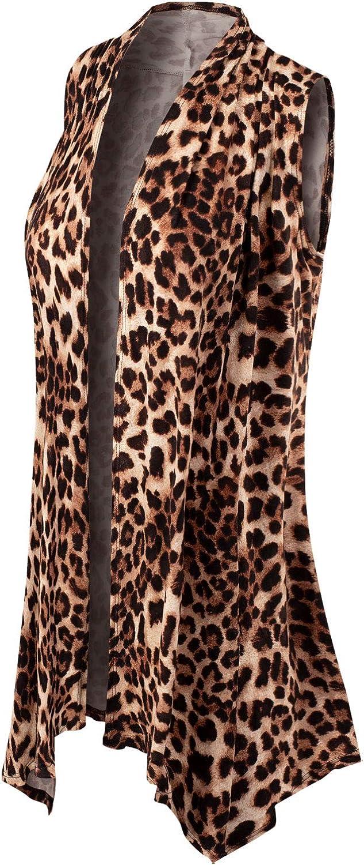 Design by Olivia Womens Lightweight Sleeveless Draped Open Front Cardigan Vest