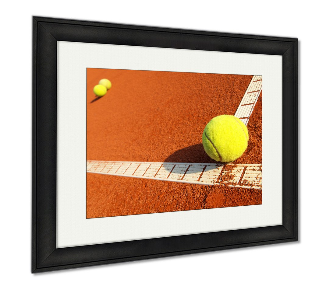 Ashley Canvas Tennis Balls On A Tennis Clay Court, Wall Art Home Decoration, Color, 34x40 (frame size), Black Frame, AG4958032