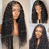 Lace Front Wigs Human Hair Brazilian Water Wave Lace Frontal Wigs T Part Transparent Lace Curly Wave Human Hair Wigs for Blac