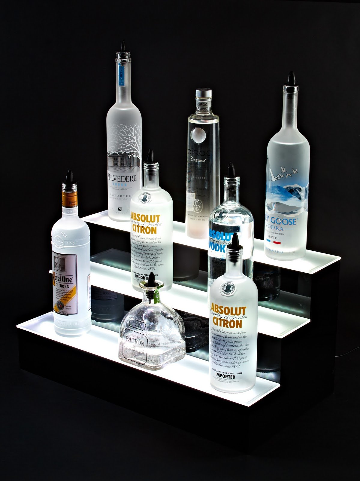 24'' inch 3 Tier Lighted Liquor Shelves Bottle Display LED |Home bar Lights by Armana Productions (Image #4)