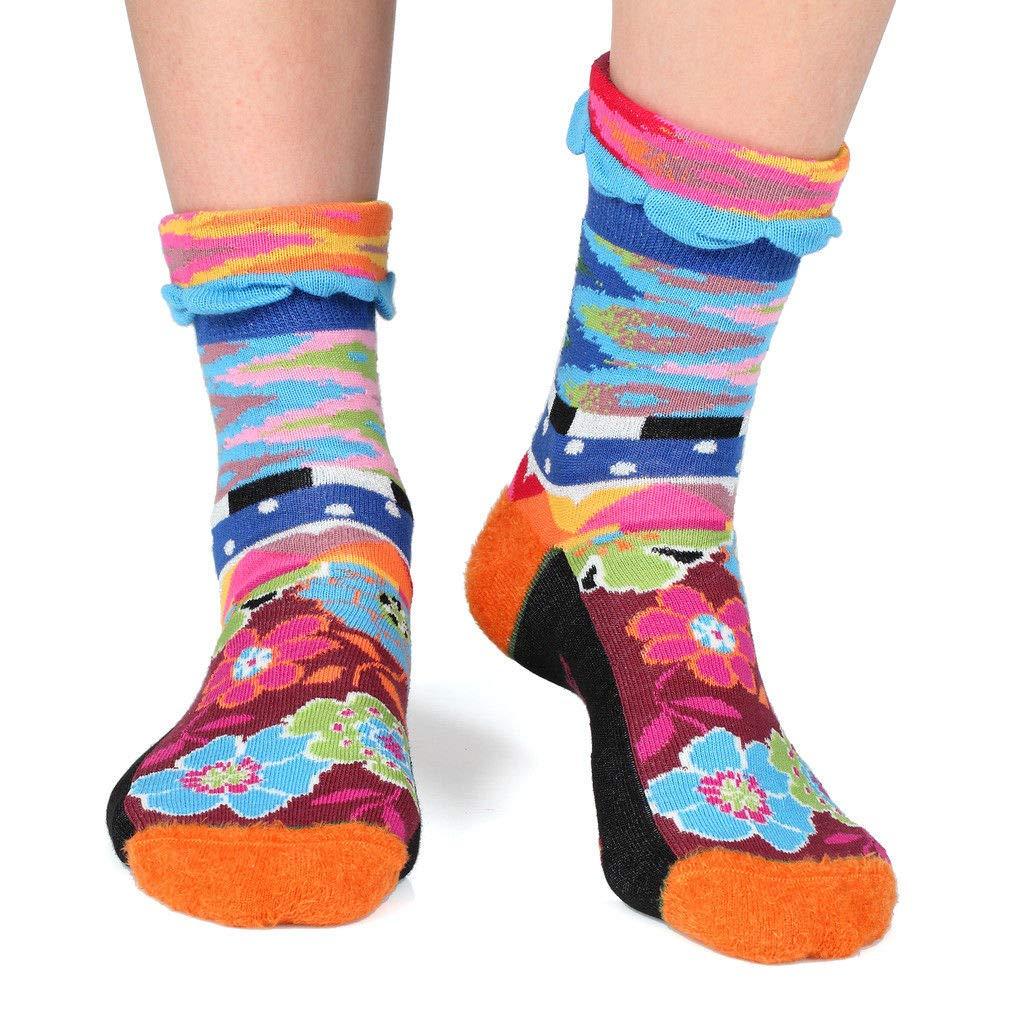 Ikat Dub & Drino France Women's Cuffed Crew Socks colorful Geometric and Floral Patterns US 5 8.5