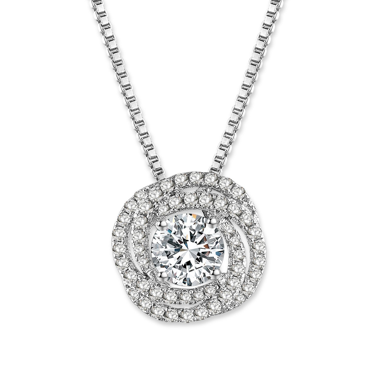 GEORGE · SMITH Classic 925 Sterling Silver Pendant Crystal Necklaces with 4A Cubic Zircon Diamonds Birthday Wedding Gifts for Women with Luxury Jewelry Box