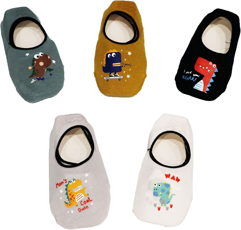 Z-Chen Pack de 5 Pares Calcetines Antideslizantes para Beb/é Ni/ños 1-3 a/ños Set 1