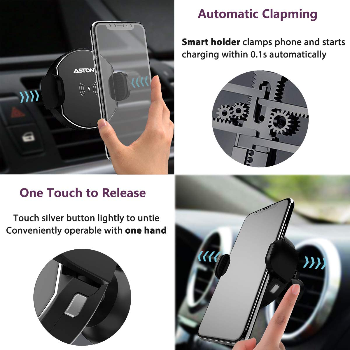 Air Vent Cell Phone Holder for iPhone Xs Max//Xs//XR//X//8//8plus Wireless Car Charger Mount Infrared Auto Clamping Qi Fast Charging 10W 7.5W 5W Car Mount Samsung Galaxy Note9//Note8//S10//S9//S8//S7//S6