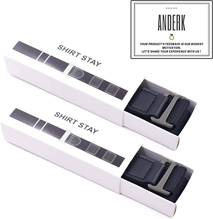 120CM Black ANDERK 2 Pcs Shirt Stays with Adjustable Straps for Neat and Smart look 47.2 inch Long