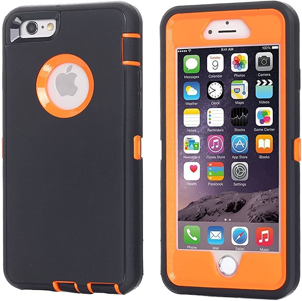 iPhone 8 Plus/7 Plus Case, AICase [Heavy Duty] [Full Body] Daul Layer Armor Shockproof Water-Proof Case with Built in Screen Protector for Apple iPhone 8 Plus/7 Plus (Orange/Black+Belt Clip)