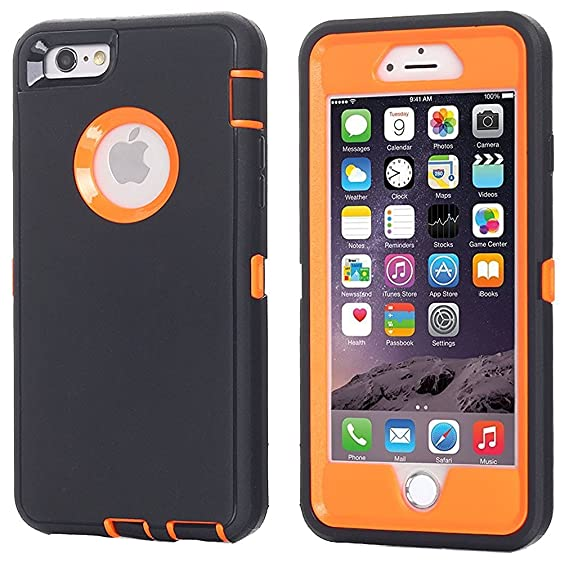 brand new c20c5 13e4f iPhone 6 Case, iPhone 6S Case [Heavy Duty] AICase Built-in Screen Protector  Tough 3 in 1 Rugged Shockproof Cover for Apple iPhone 6/6S (Black/Orange)