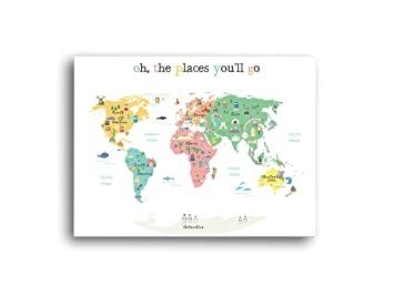 Amazon world map poster oh the place youll go travel map world map poster oh the place youll go travel map world gumiabroncs Images