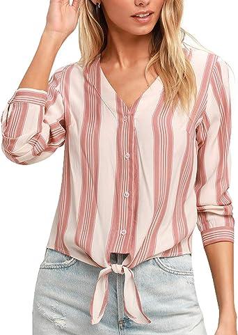 Camisas Mujer a Rayas Blusa Cuello V Manga Larga Classics Casuales ...